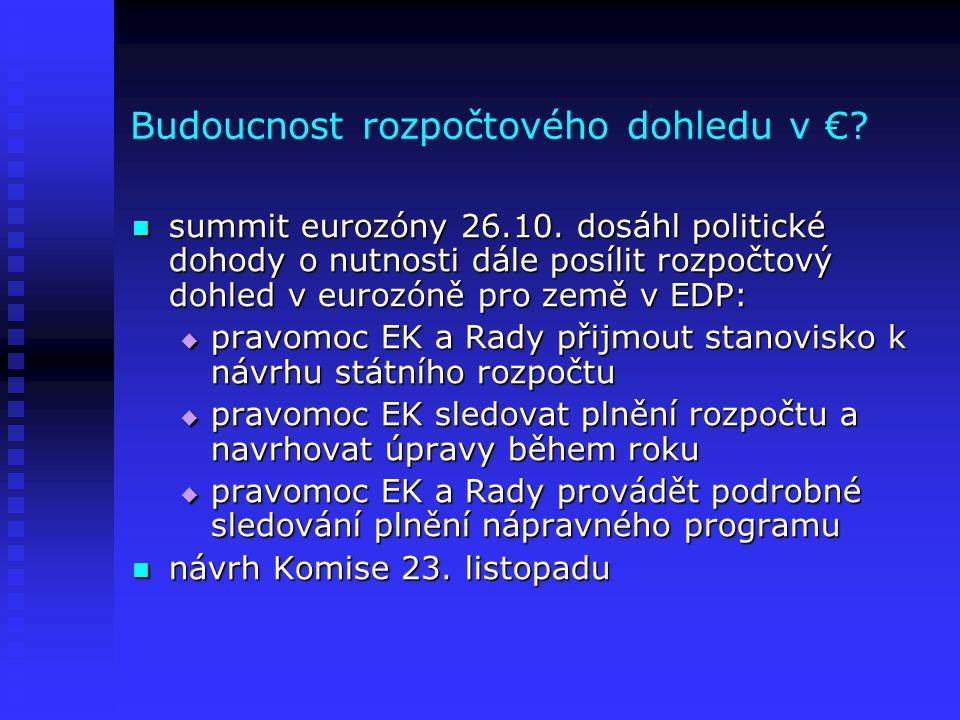 Budoucnost rozpočtového dohledu v €? summit eurozóny 26.10. dosáhl politické dohody o nutnosti dále posílit rozpočtový dohled v eurozóně pro země v ED