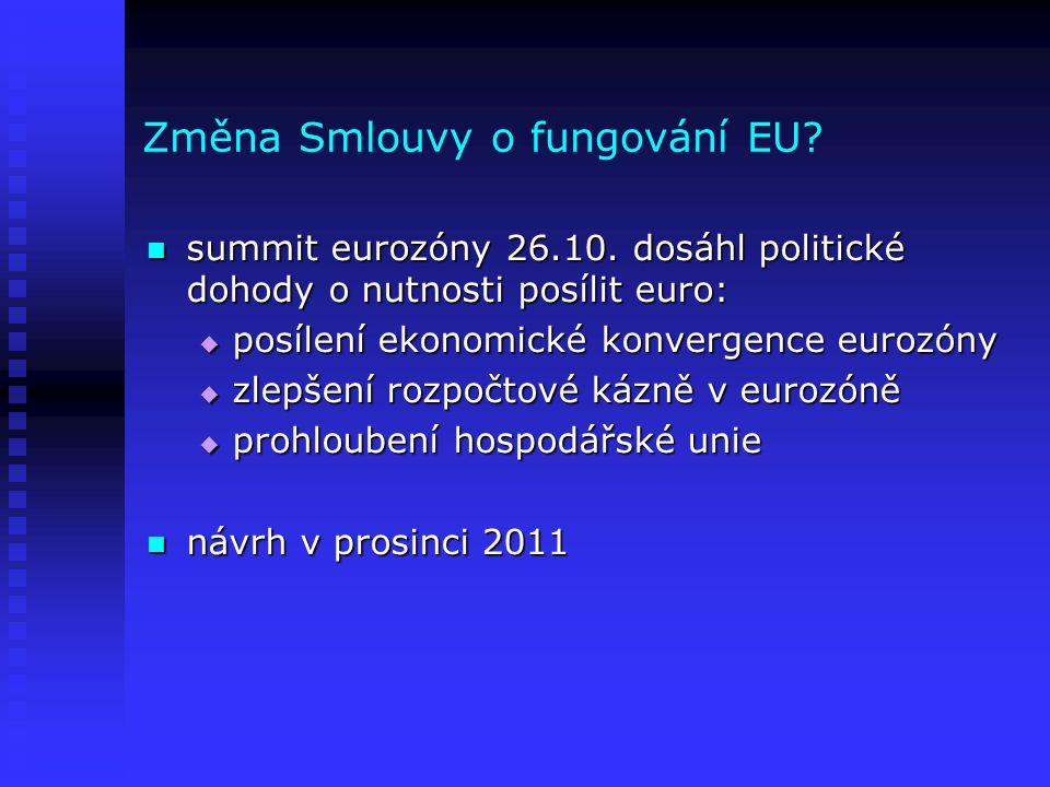 Změna Smlouvy o fungování EU? summit eurozóny 26.10. dosáhl politické dohody o nutnosti posílit euro: summit eurozóny 26.10. dosáhl politické dohody o