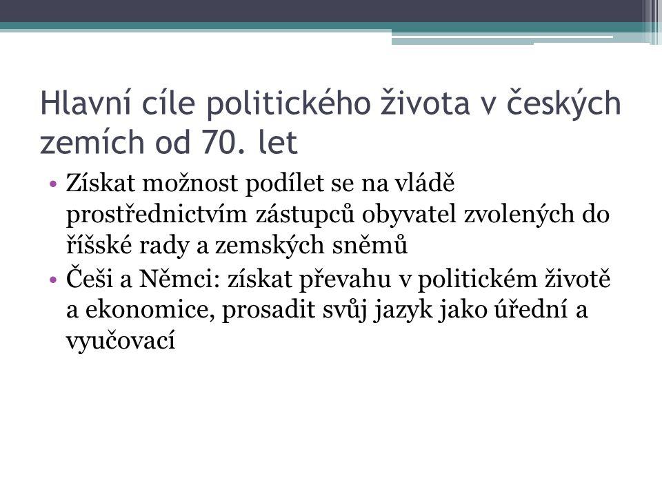 Hlavní cíle politického života v českých zemích od 70. let Získat možnost podílet se na vládě prostřednictvím zástupců obyvatel zvolených do říšské ra