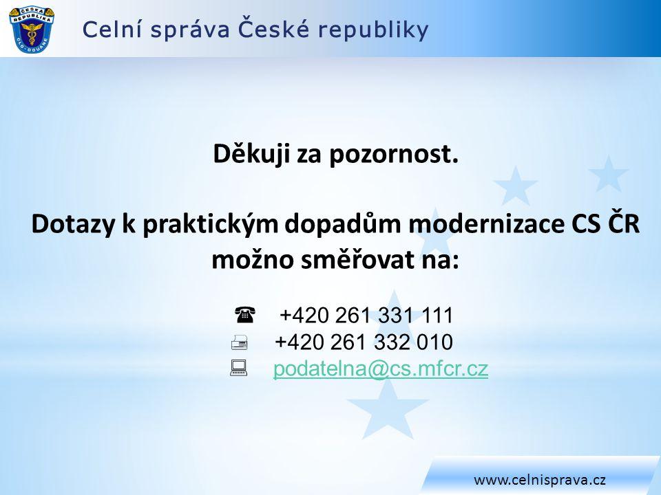Celní správa České republiky www.celnisprava.cz Děkuji za pozornost.