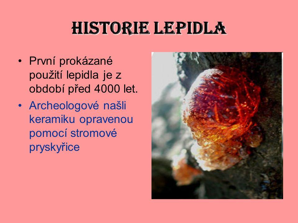 HISTORIE LEPIDLA První prokázané použití lepidla je z období před 4000 let. Archeologové našli keramiku opravenou pomocí stromové pryskyřice