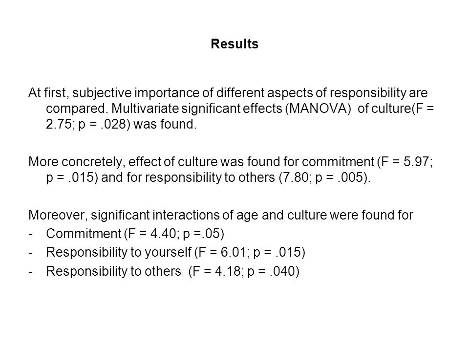 Results At first, subjective importance of different aspects of responsibility are compared. Multivariate significant effects (MANOVA) of culture(F =