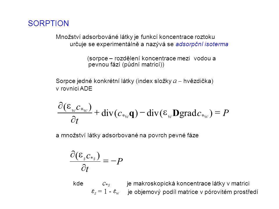 SORPTION Množství adsorbováné látky je funkcí koncentrace roztoku určuje se experimentálně a nazývá seadsorpční isoterma (sorpce– rozdělení koncentrace mezi vodou a pevnou fází (půdní matricí)) Sorpce jedné konkrétní látky (index složky a – hvězdička) v rovnici ADE Pcc t c www ww      )grad(div)( )( Dq a množství látky adsorbované na povrch pevné fáze P t c ss     )( kde c  s je makroskopická koncentrace látky v matrici  s = 1 -  w je objemový podíl matrice v pórovitém prostředí