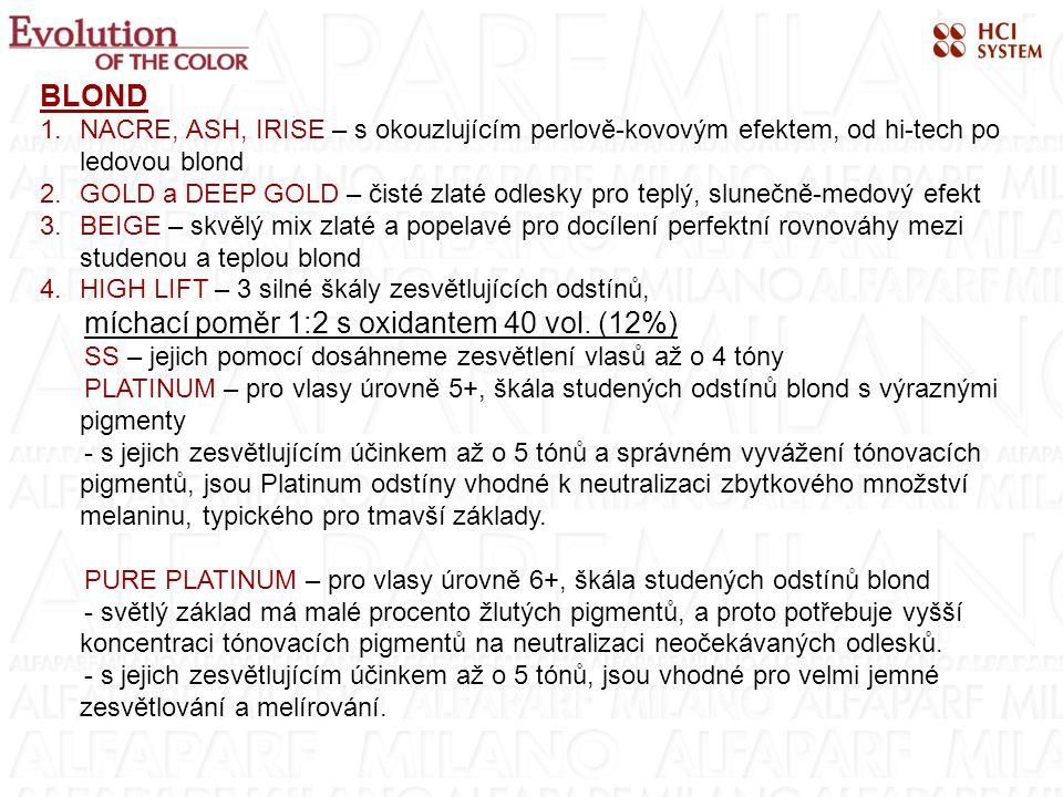 BLOND 1.NACRE, ASH, IRISE – s okouzlujícím perlově-kovovým efektem, od hi-tech po ledovou blond 2.GOLD a DEEP GOLD – čisté zlaté odlesky pro teplý, slunečně-medový efekt 3.BEIGE – skvělý mix zlaté a popelavé pro docílení perfektní rovnováhy mezi studenou a teplou blond 4.HIGH LIFT – 3 silné škály zesvětlujících odstínů, míchací poměr 1:2 s oxidantem 40 vol.