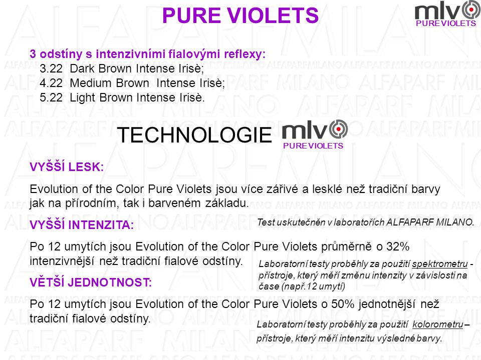 PURE VIOLETS 3 odstíny s intenzivními fialovými reflexy: 3.22 Dark Brown Intense Irisè; 4.22 Medium Brown Intense Irisè; 5.22 Light Brown Intense Iris