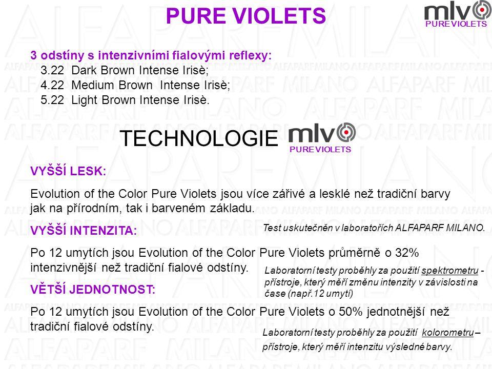 PURE VIOLETS 3 odstíny s intenzivními fialovými reflexy: 3.22 Dark Brown Intense Irisè; 4.22 Medium Brown Intense Irisè; 5.22 Light Brown Intense Irisè.