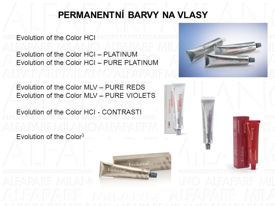PERMANENTNÍ BARVY NA VLASY Evolution of the Color HCI Evolution of the Color HCI – PLATINUM Evolution of the Color HCI – PURE PLATINUM Evolution of th