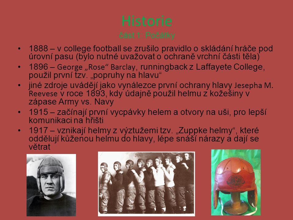 Historie část 1: Počátky 1888 – v college football se zrušilo pravidlo o skládání hráče pod úrovní pasu (bylo nutné uvažovat o ochraně vrchní části tě