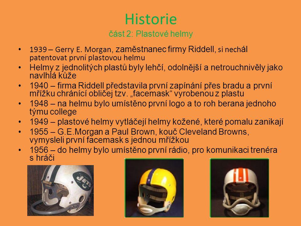 Historie část 2: Plastové helmy 1939 – Gerry E. Morgan, zaměstnanec firmy Riddell, si nech ál patentovat první plastovou helmu Helmy z jednolitých pla