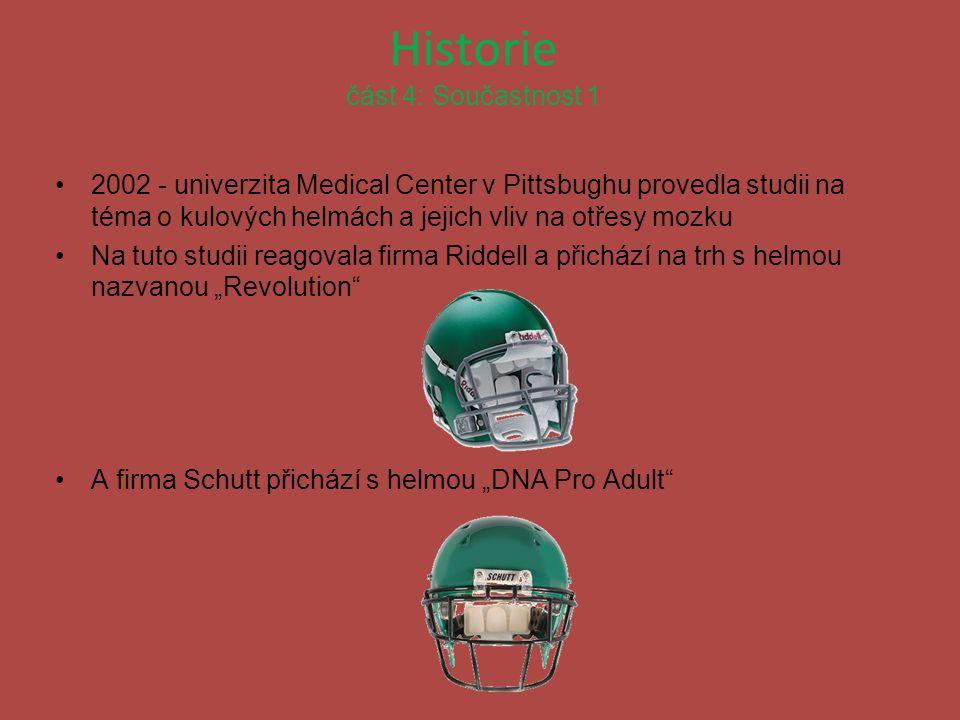 Historie část 4: Součastnost 1 2002 - univerzita Medical Center v Pittsbughu provedla studii na téma o kulových helmách a jejich vliv na otřesy mozku