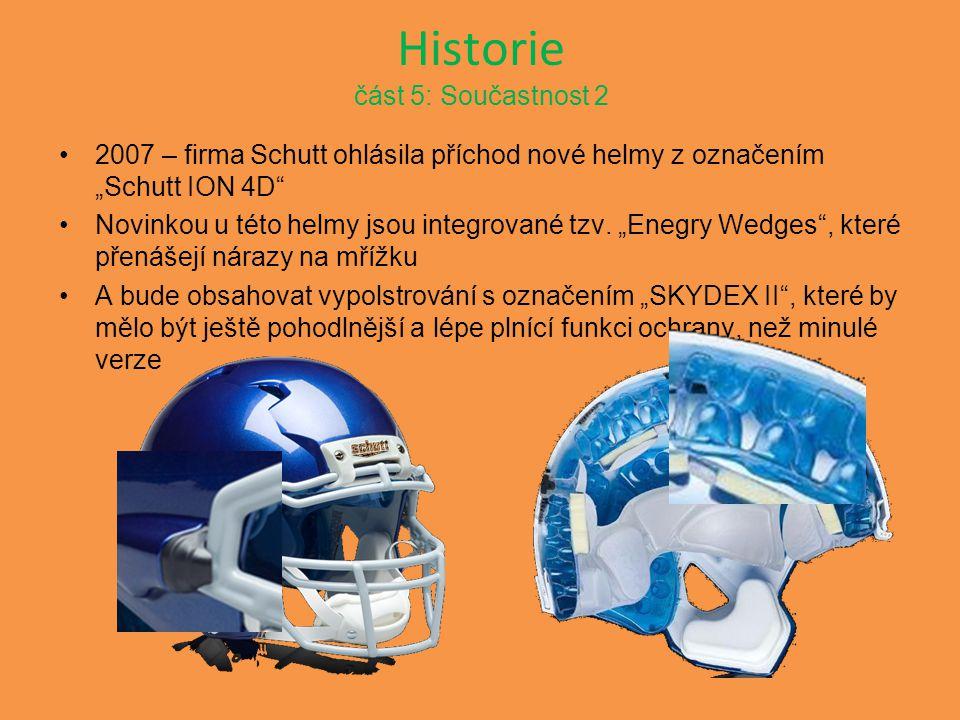 """Historie část 5: Součastnost 2 2007 – firma Schutt ohlásila příchod nové helmy z označením """"Schutt ION 4D"""" Novinkou u této helmy jsou integrované tzv."""
