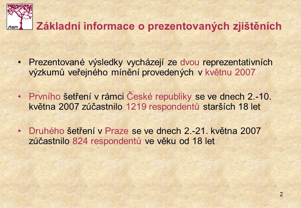 2 Základní informace o prezentovaných zjištěních Prezentované výsledky vycházejí ze dvou reprezentativních výzkumů veřejného mínění provedených v květ