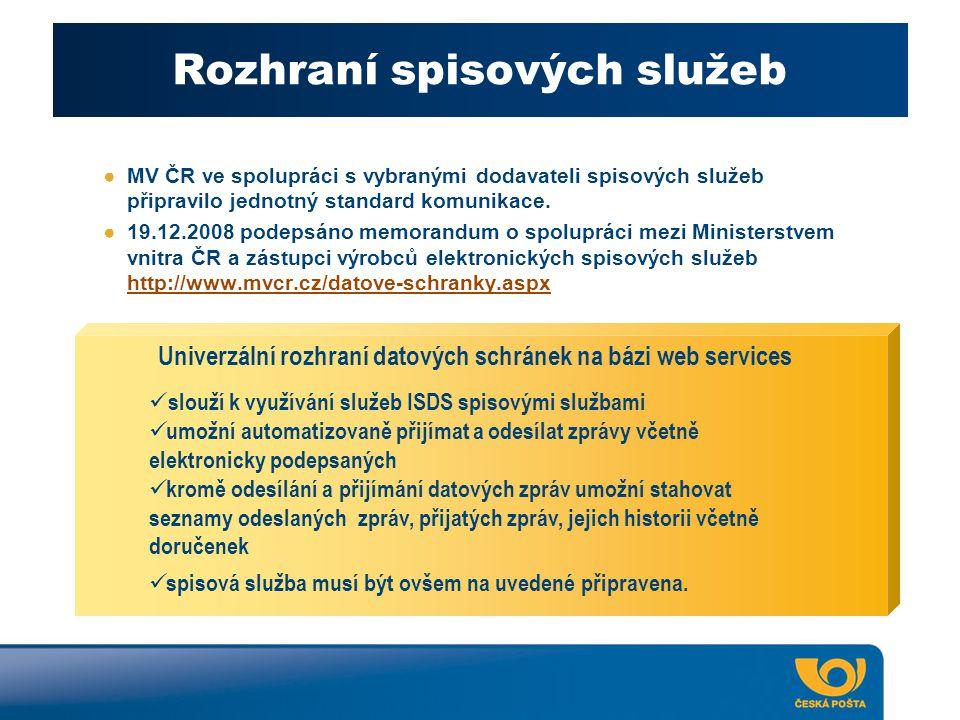 Rozhraní spisových služeb ●MV ČR ve spolupráci s vybranými dodavateli spisových služeb připravilo jednotný standard komunikace. ●19.12.2008 podepsáno