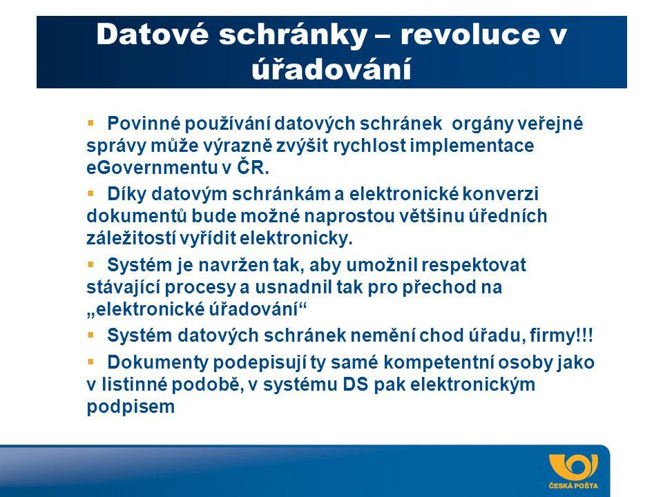 Datové schránky – revoluce v úřadování  Povinné používání datových schránek orgány veřejné správy může výrazně zvýšit rychlost implementace eGovernmentu v ČR.