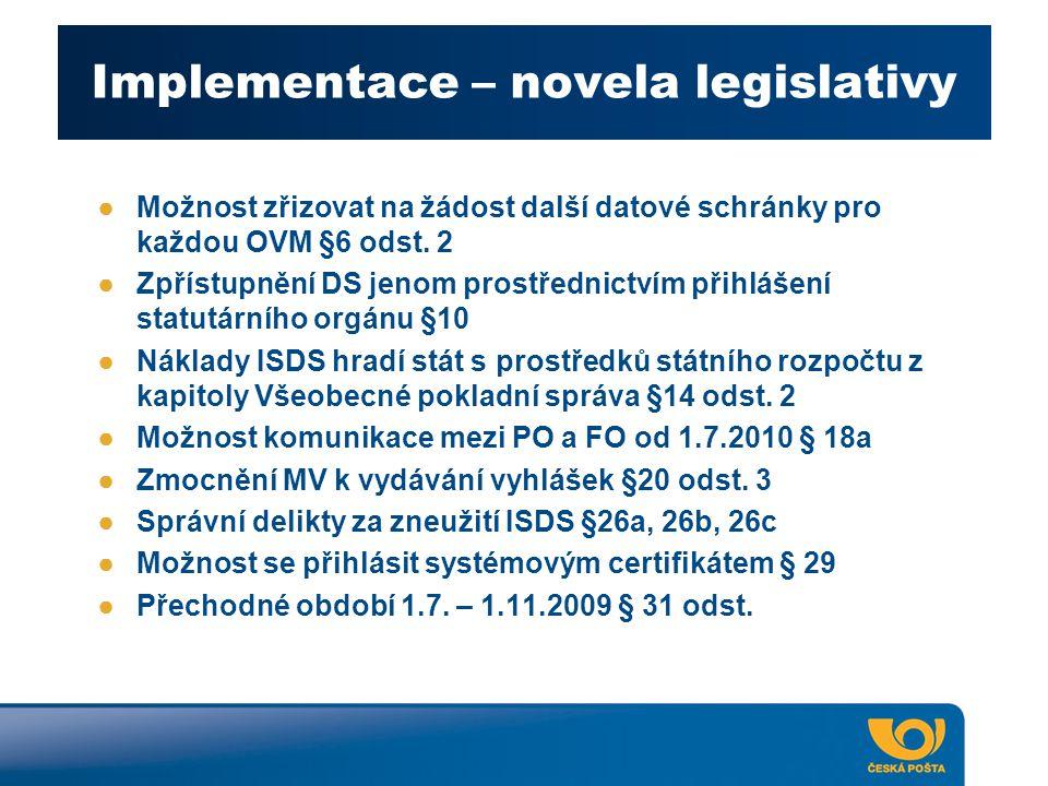Implementace – novela legislativy ●Možnost zřizovat na žádost další datové schránky pro každou OVM §6 odst. 2 ●Zpřístupnění DS jenom prostřednictvím p