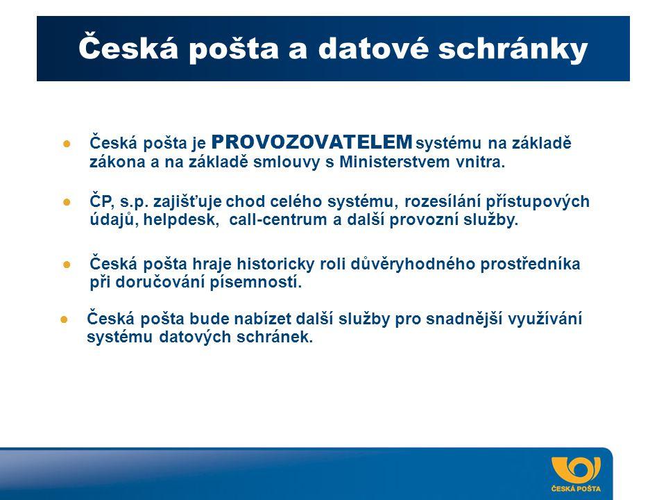 Česká pošta a datové schránky ●Česká pošta je PROVOZOVATELEM systému na základě zákona a na základě smlouvy s Ministerstvem vnitra. ●ČP, s.p. zajišťuj