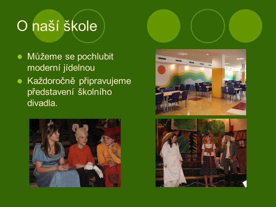 O naší škole Můžeme se pochlubit moderní jídelnou Každoročně připravujeme představení školního divadla.