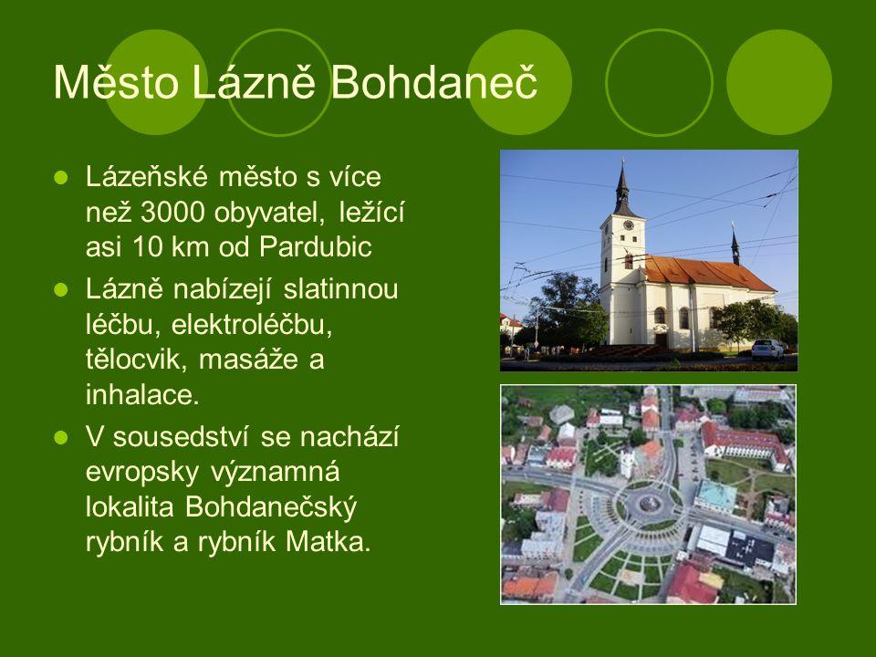 Město Lázně Bohdaneč Lázeňské město s více než 3000 obyvatel, ležící asi 10 km od Pardubic Lázně nabízejí slatinnou léčbu, elektroléčbu, tělocvik, mas