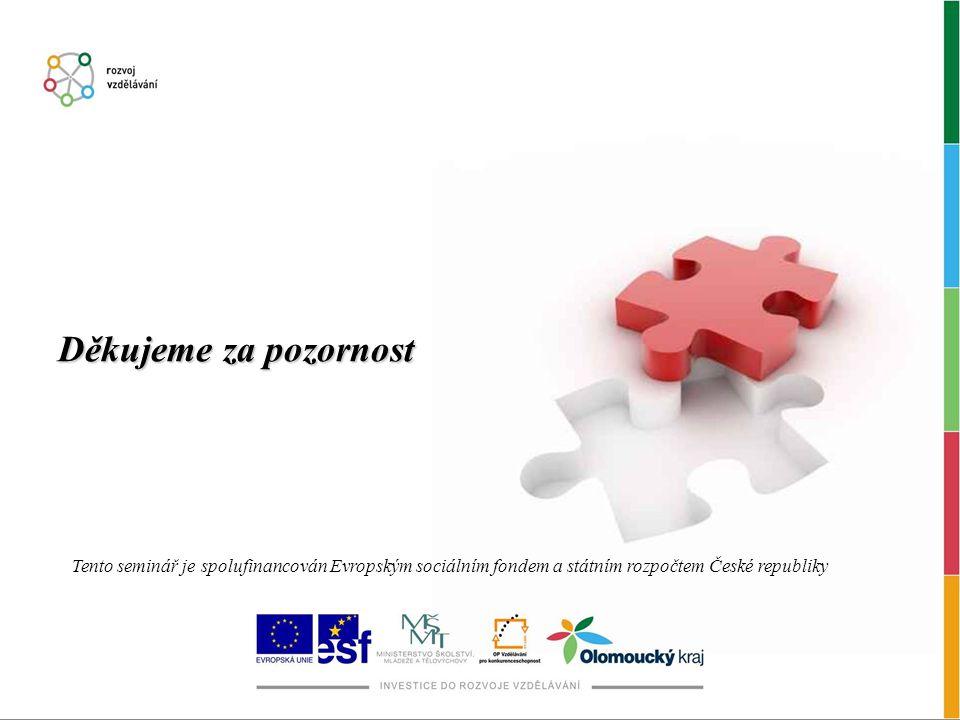 Děkujeme za pozornost Tento seminář je spolufinancován Evropským sociálním fondem a státním rozpočtem České republiky