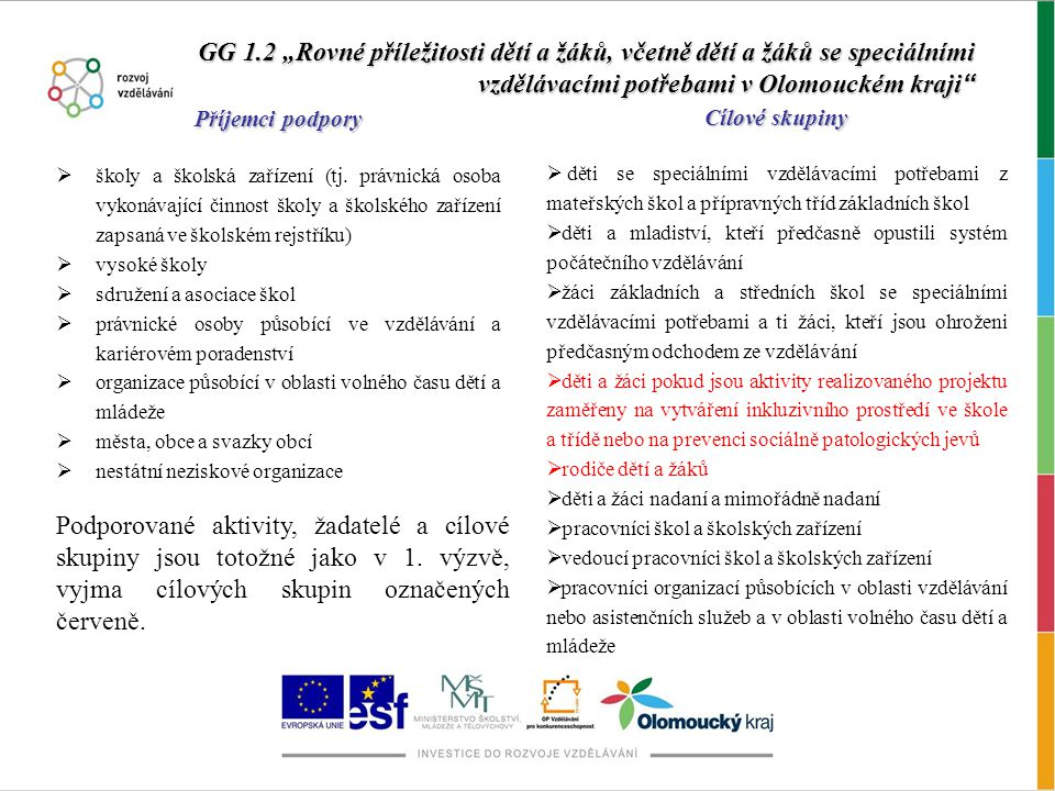 """GG 1.2 """"Rovné příležitosti dětí a žáků, včetně dětí a žáků se speciálními vzdělávacími potřebami v Olomouckém kraji Příjemci podpory  školy a školská zařízení (tj."""