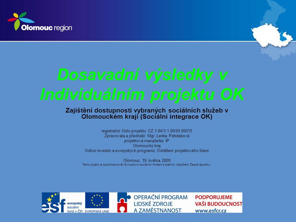 Dosavadní výsledky v Individuálním projektu OK Zajištění dostupnosti vybraných sociálních služeb v Olomouckém kraji (Sociální integrace OK) registrační číslo projektu: CZ.1.04/3.1.00/05.00015 Zpracovala a přednáší: Mgr.