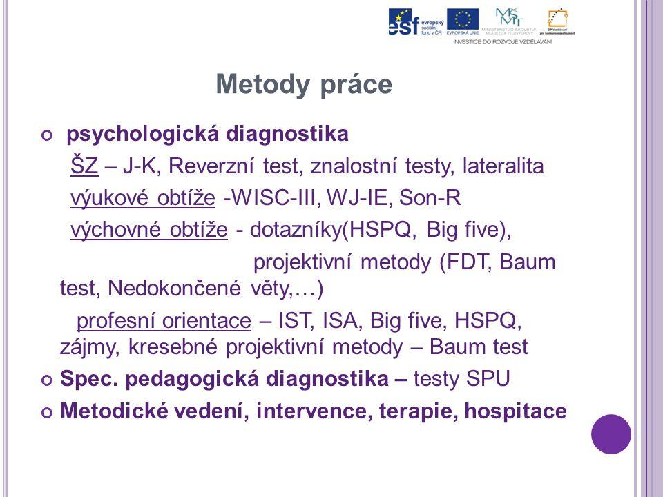 Metody práce psychologická diagnostika ŠZ – J-K, Reverzní test, znalostní testy, lateralita výukové obtíže -WISC-III, WJ-IE, Son-R výchovné obtíže - d