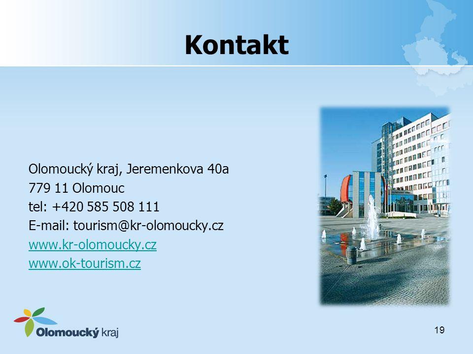 Kontakt Olomoucký kraj, Jeremenkova 40a 779 11 Olomouc tel: +420 585 508 111 E-mail: tourism@kr-olomoucky.cz www.kr-olomoucky.cz www.ok-tourism.cz 19