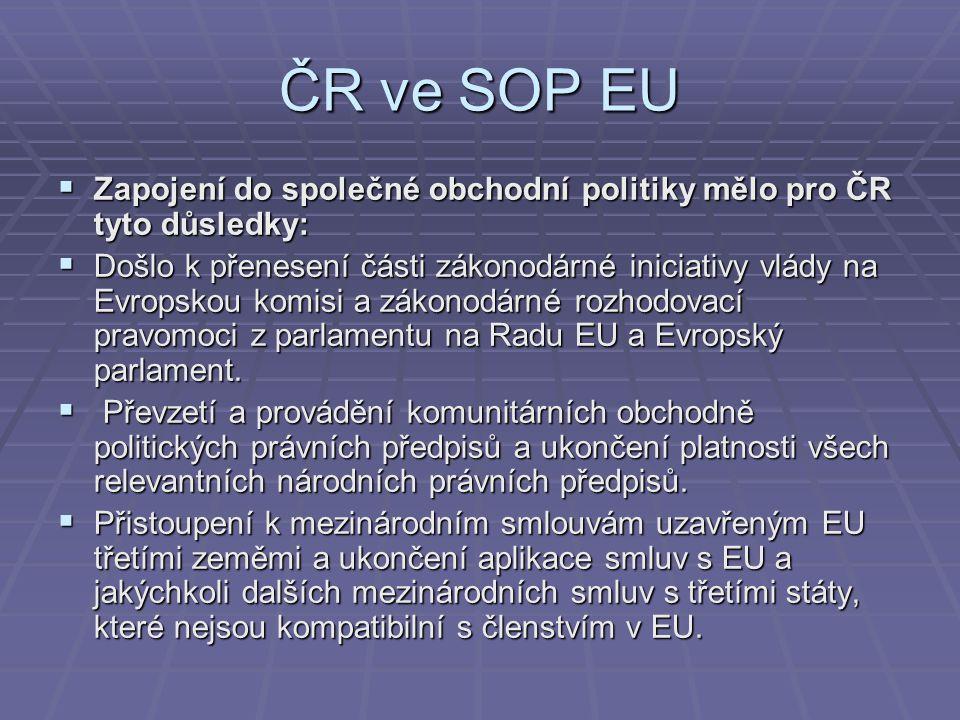 ČR ve SOP EU  Zapojení do společné obchodní politiky mělo pro ČR tyto důsledky:  Došlo k přenesení části zákonodárné iniciativy vlády na Evropskou k