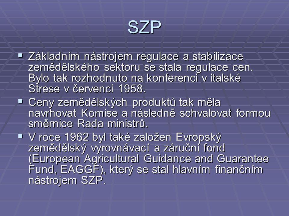 SZP  Základním nástrojem regulace a stabilizace zemědělského sektoru se stala regulace cen. Bylo tak rozhodnuto na konferenci v italské Strese v červ