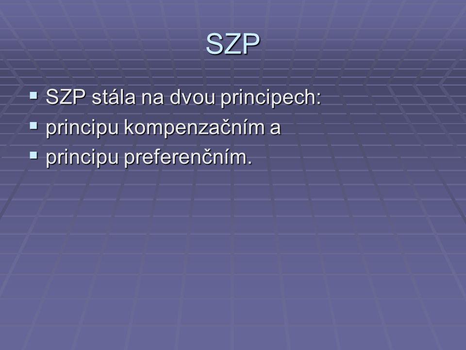 SZP  SZP stála na dvou principech:  principu kompenzačním a  principu preferenčním.