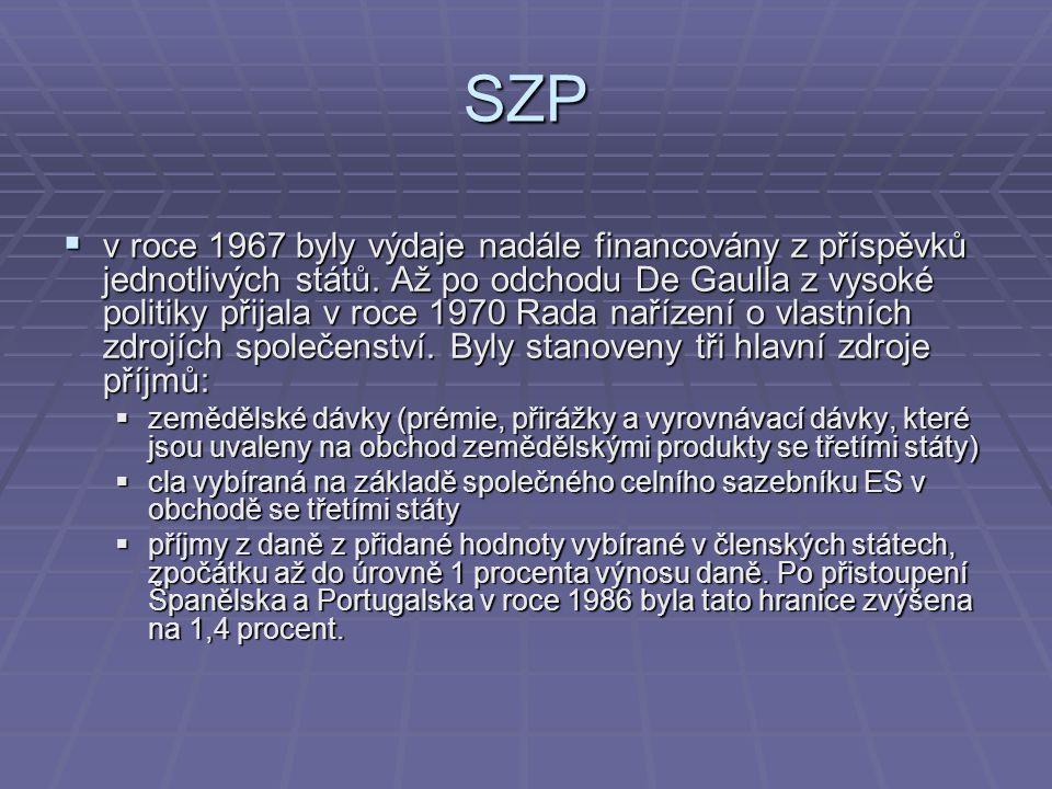 SZP  v roce 1967 byly výdaje nadále financovány z příspěvků jednotlivých států. Až po odchodu De Gaulla z vysoké politiky přijala v roce 1970 Rada na