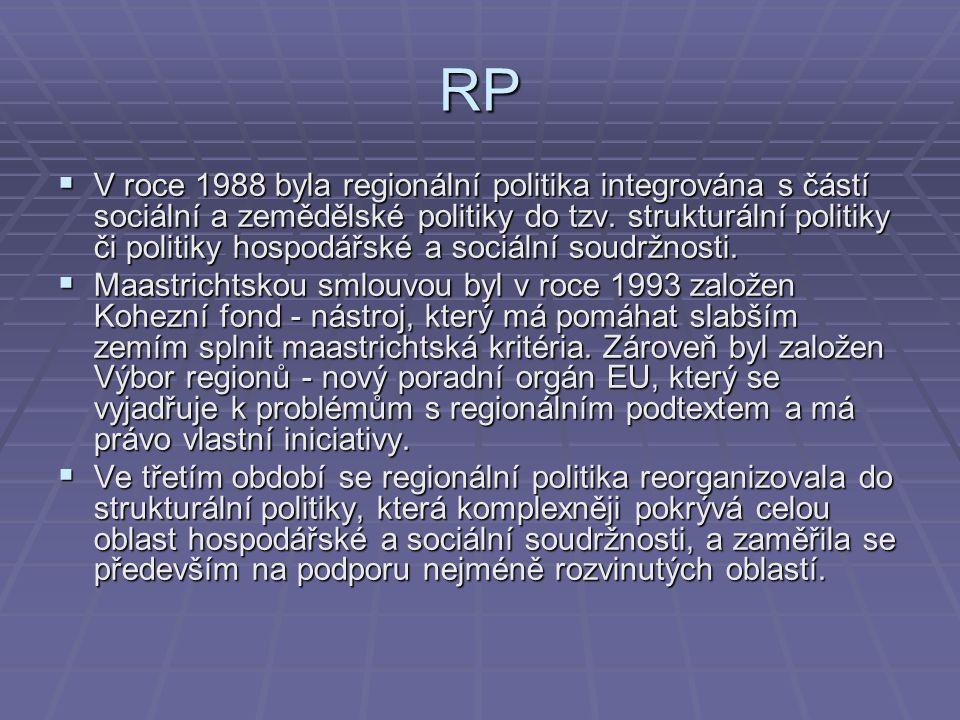 RP  V roce 1988 byla regionální politika integrována s částí sociální a zemědělské politiky do tzv. strukturální politiky či politiky hospodářské a s