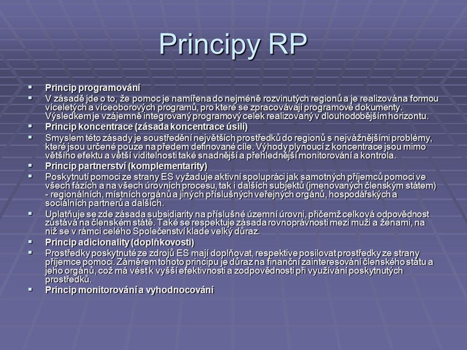 Principy RP  Princip programování  V zásadě jde o to, že pomoc je namířena do nejméně rozvinutých regionů a je realizována formou víceletých a víceo