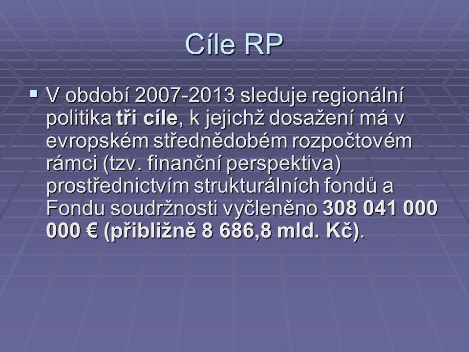 Cíle RP  V období 2007-2013 sleduje regionální politika tři cíle, k jejichž dosažení má v evropském střednědobém rozpočtovém rámci (tzv. finanční per