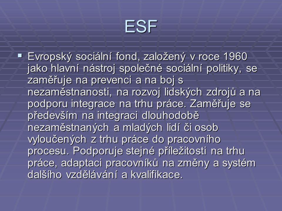 ESF  Evropský sociální fond, založený v roce 1960 jako hlavní nástroj společné sociální politiky, se zaměřuje na prevenci a na boj s nezaměstnanosti,