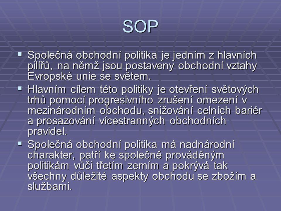 SOP  Společná obchodní politika je jedním z hlavních pilířů, na němž jsou postaveny obchodní vztahy Evropské unie se světem.  Hlavním cílem této pol
