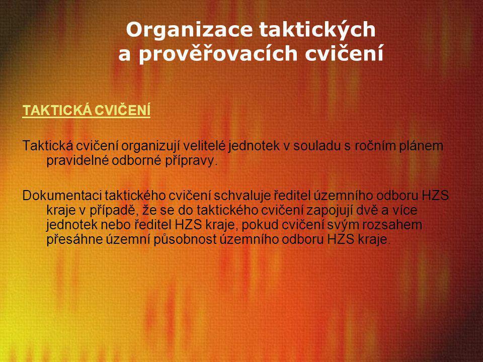 Organizace taktických a prověřovacích cvičení TAKTICKÁ CVIČENÍ Taktická cvičení organizují velitelé jednotek v souladu s ročním plánem pravidelné odbo