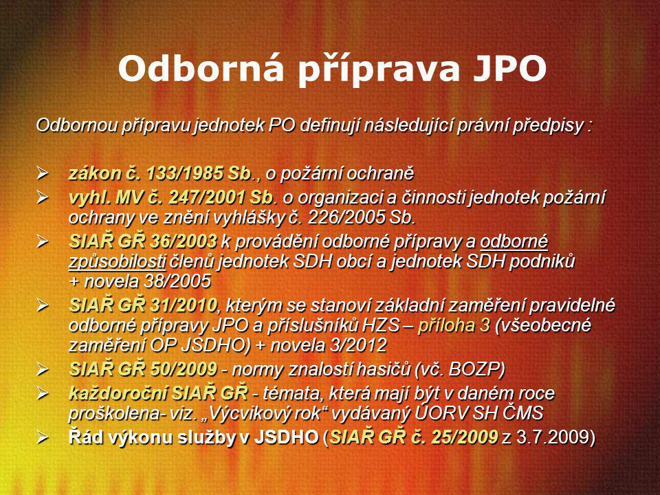 Odborná příprava JPO Odbornou přípravu jednotek PO definují následující právní předpisy :  zákon č. 133/1985 Sb., o požární ochraně  vyhl. MV č. 247