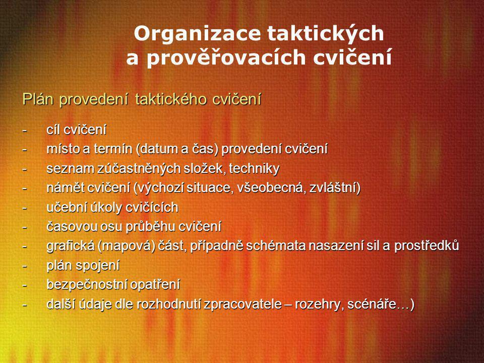 Organizace taktických a prověřovacích cvičení Plán provedení taktického cvičení -cíl cvičení -místo a termín (datum a čas) provedení cvičení -seznam z
