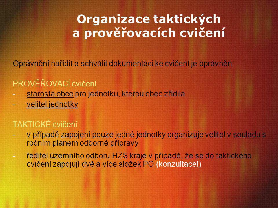 Organizace taktických a prověřovacích cvičení Oprávnění nařídit a schválit dokumentaci ke cvičení je oprávněn: PROVĚŘOVACÍ cvičení -starosta obce pro
