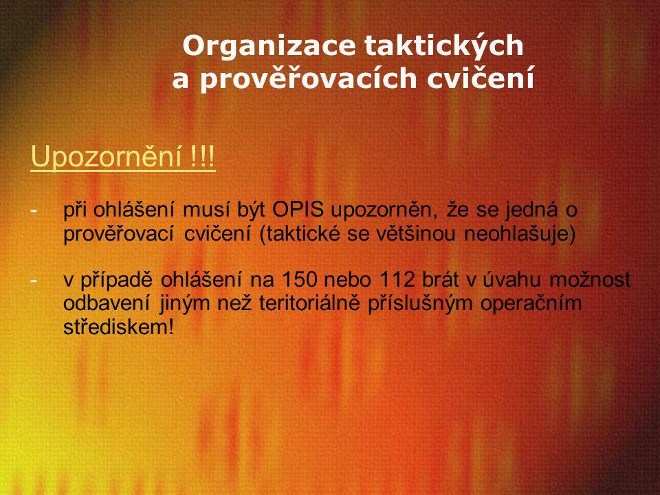 Organizace taktických a prověřovacích cvičení Upozornění !!! -při ohlášení musí být OPIS upozorněn, že se jedná o prověřovací cvičení (taktické se vět