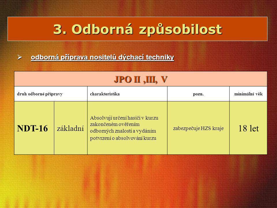 3. Odborná způsobilost  odborná příprava nositelů dýchací techniky JPO II,III, V druh odborné přípravycharakteristikapozn.minimální věk NDT-16 základ