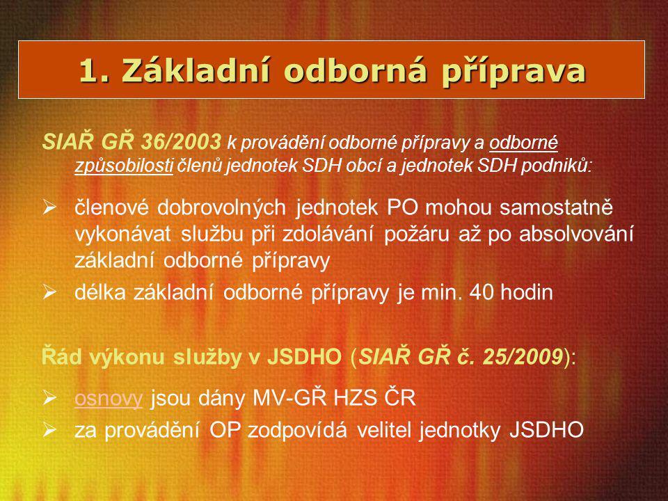 1. Základní odborná příprava SIAŘ GŘ 36/2003 k provádění odborné přípravy a odborné způsobilosti členů jednotek SDH obcí a jednotek SDH podniků:  čle