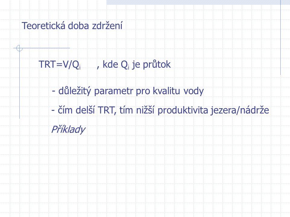 Teoretická doba zdržení TRT=V/Q i, kde Q i je průtok - důležitý parametr pro kvalitu vody - čím delší TRT, tím nižší produktivita jezera/nádrže Příkla