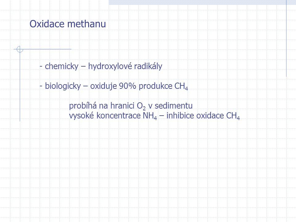 Oxidace methanu - chemicky – hydroxylové radikály - biologicky – oxiduje 90% produkce CH 4 probíhá na hranici O 2 v sedimentu vysoké koncentrace NH 4