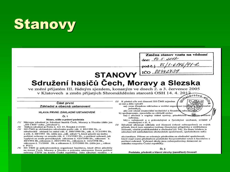 Stanovy ● Stanovy musí mít každé občanské sdružení, a to nově dle zákona 89/2012 Sb., Občanský zákoník.