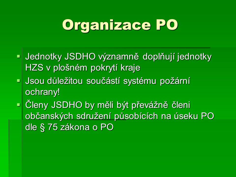 Organizace PO  Jednotky JSDHO významně doplňují jednotky HZS v plošném pokrytí kraje  Jsou důležitou součástí systému požární ochrany!  Členy JSDHO