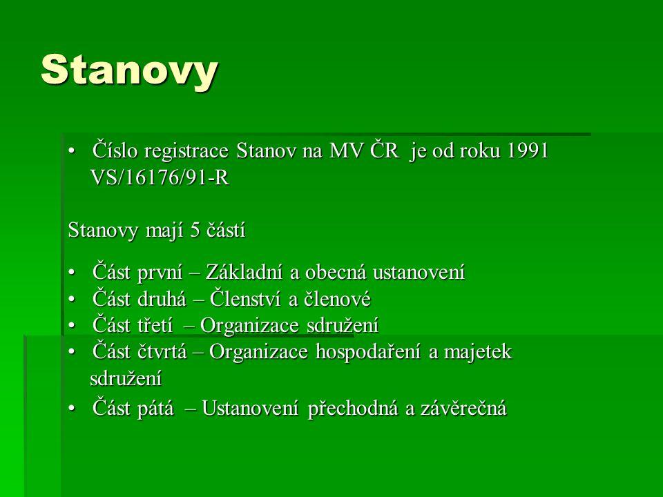 Stanovy Číslo registrace Stanov na MV ČR je od roku 1991Číslo registrace Stanov na MV ČR je od roku 1991 VS/16176/91-R VS/16176/91-R Stanovy mají 5 čá