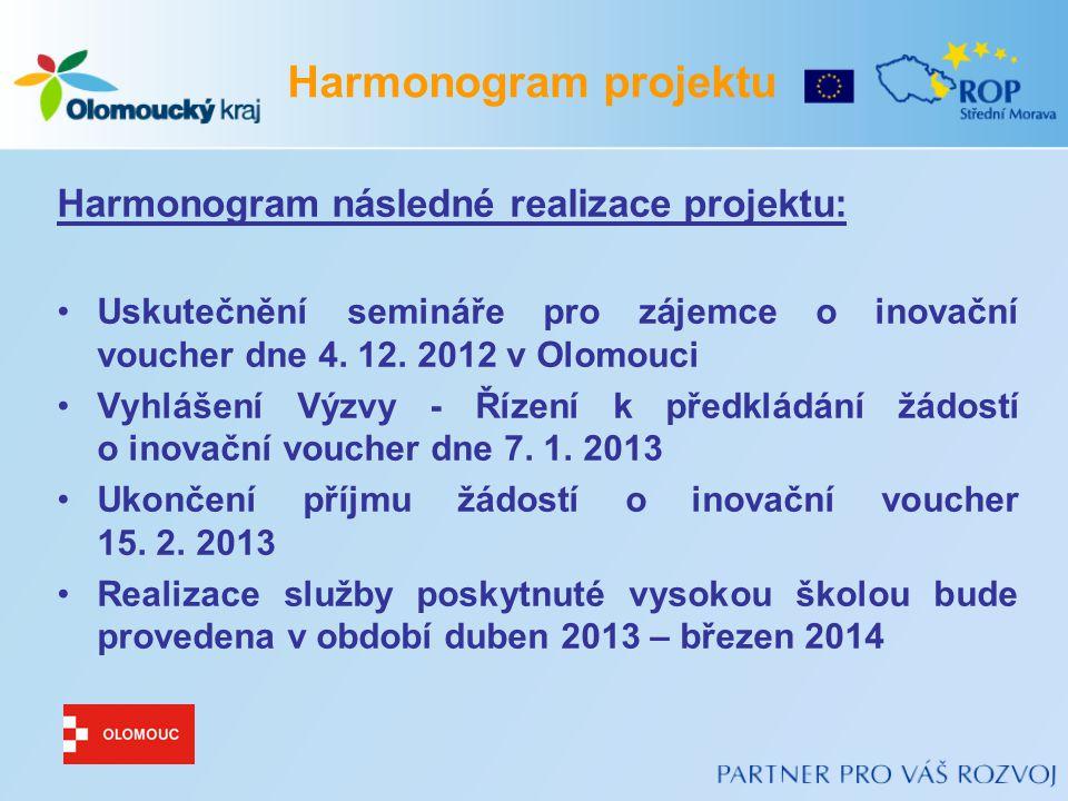 Harmonogram následné realizace projektu: Uskutečnění semináře pro zájemce o inovační voucher dne 4.
