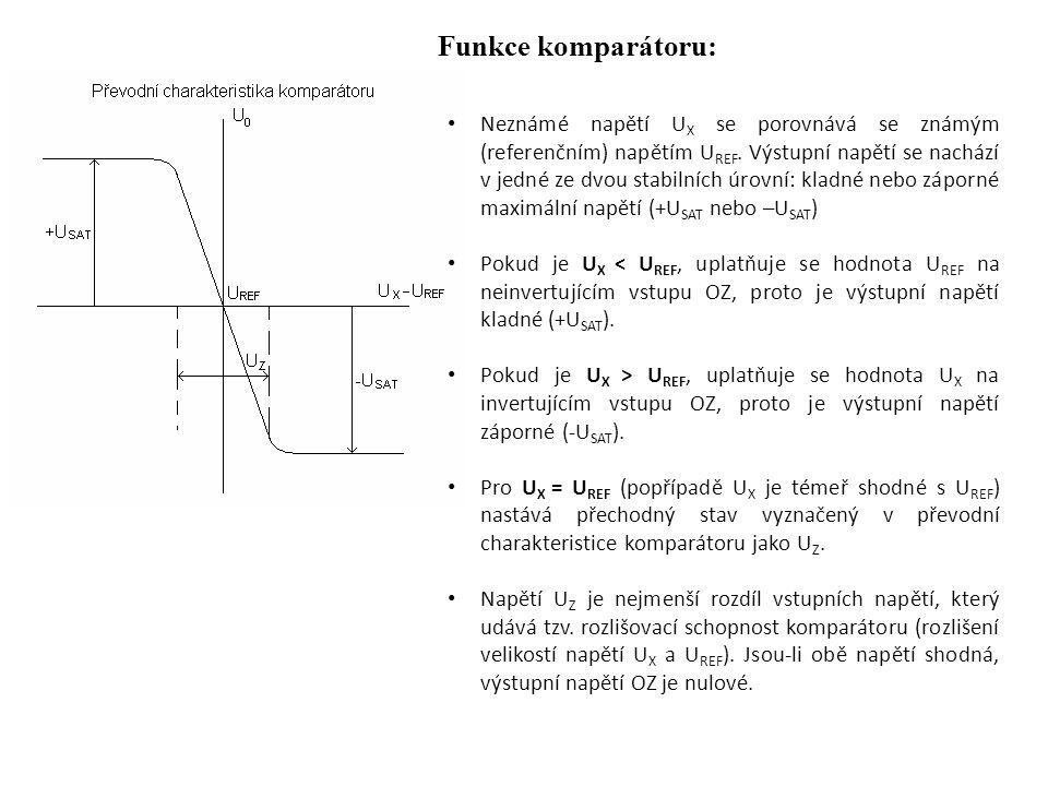 Funkce komparátoru: Neznámé napětí U X se porovnává se známým (referenčním) napětím U REF.
